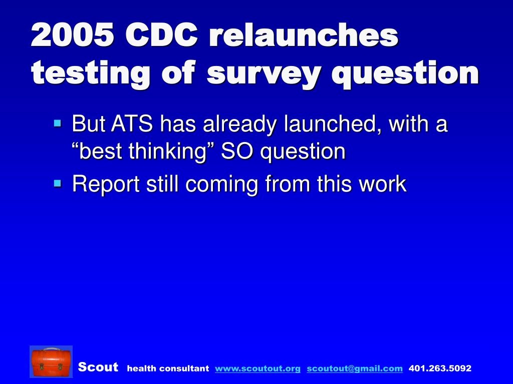 2005 CDC relaunches testing of survey question