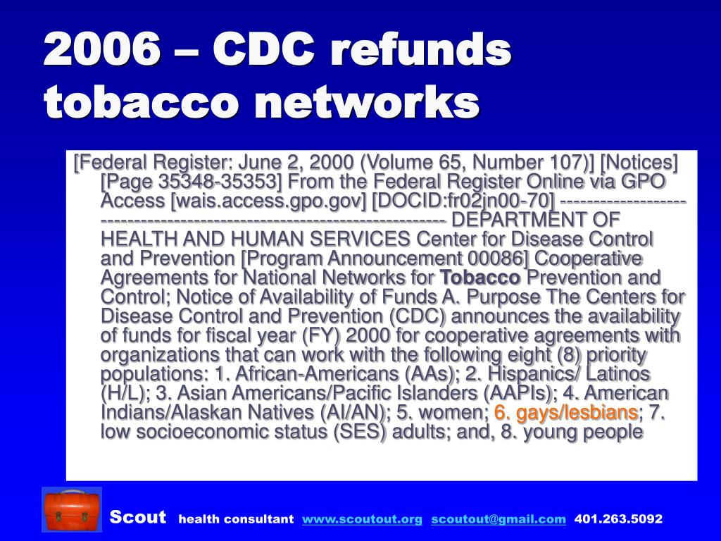 2006 – CDC refunds tobacco networks