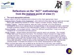 reflections on the act methodology from the trainers point of view 1