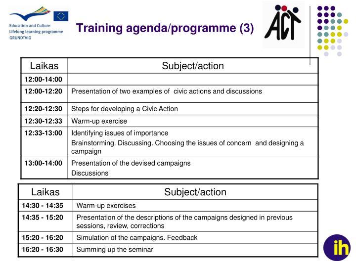 Training agenda/programme