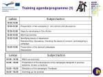 training agenda programme 3