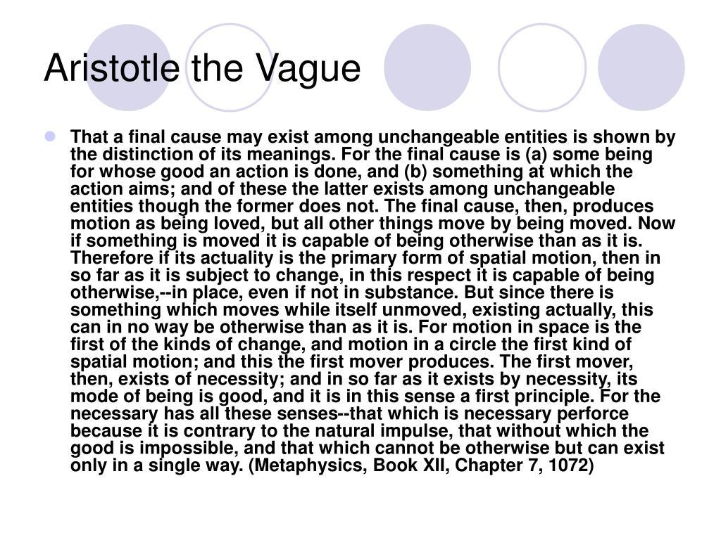Aristotle the Vague