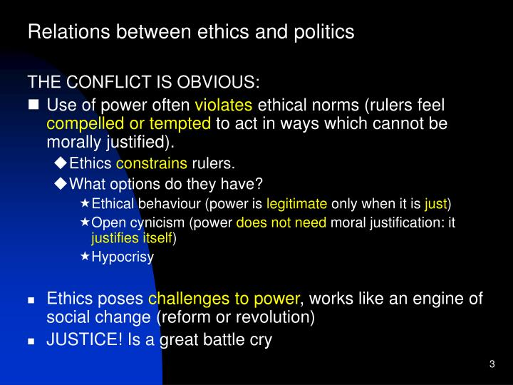 Relations between ethics and politics