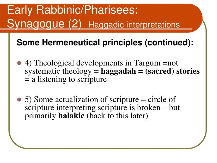 Early Rabbinic/Pharisees:   Synagogue (2)