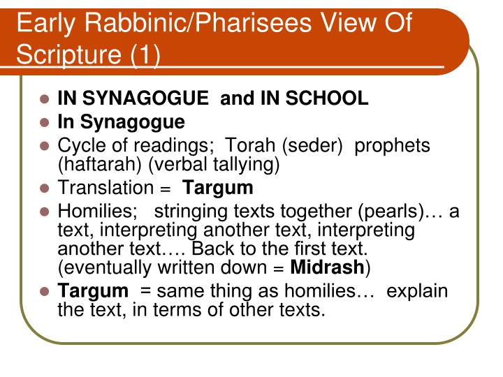 Early Rabbinic/Pharisees View Of Scripture (1)