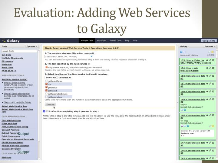 Evaluation: Adding Web Services to Galaxy