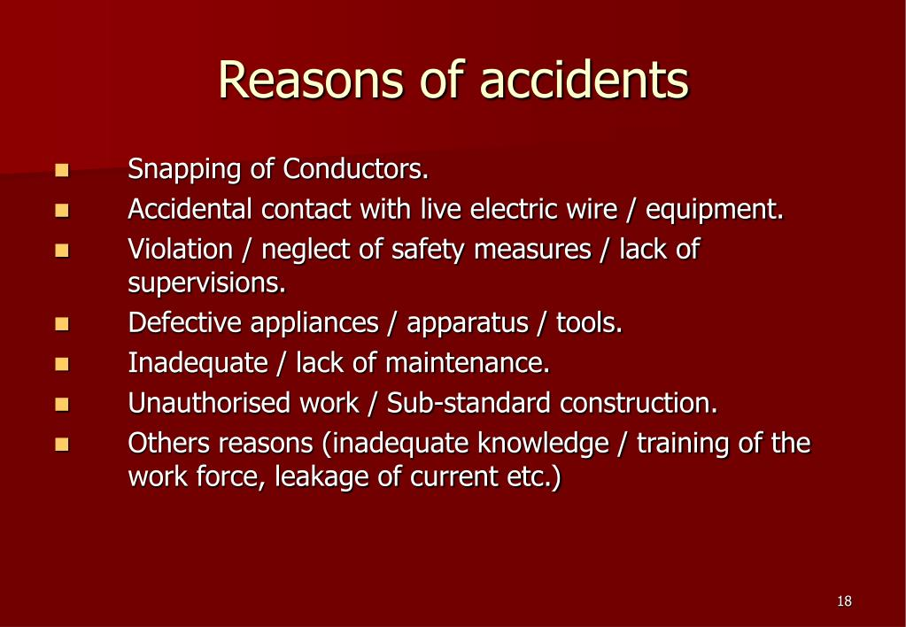 Reasons of accidents