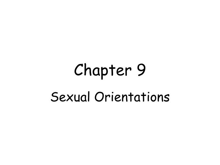 Chapter 9 sexual orientations