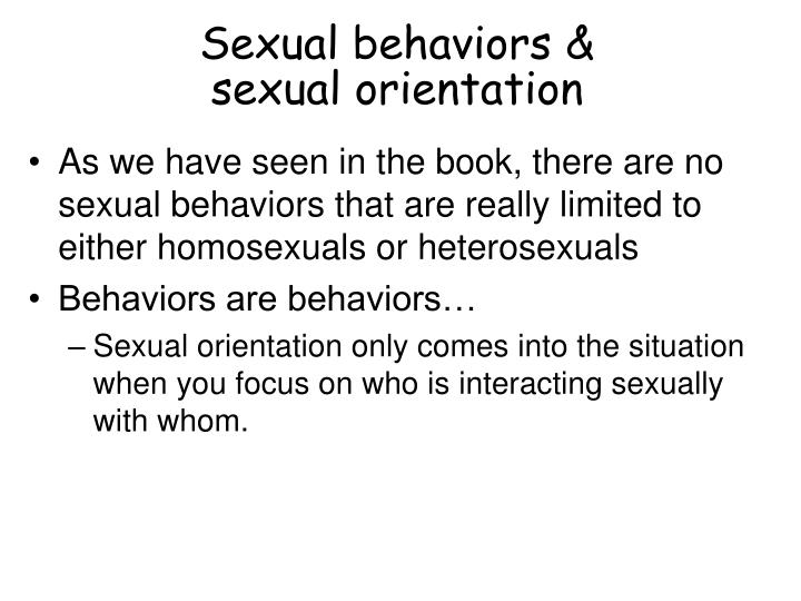 Sexual behaviors &