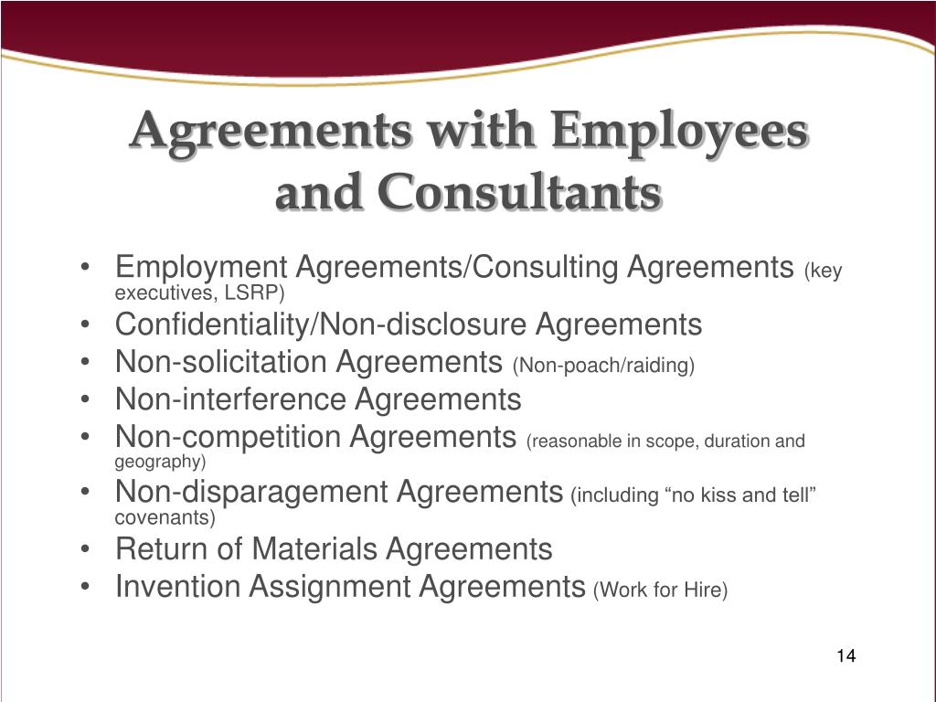 Agreements with Employees and Consultants