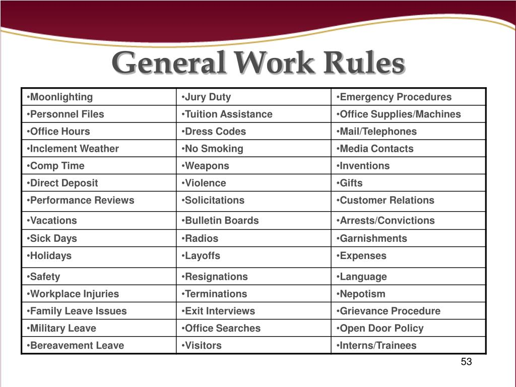 General Work Rules