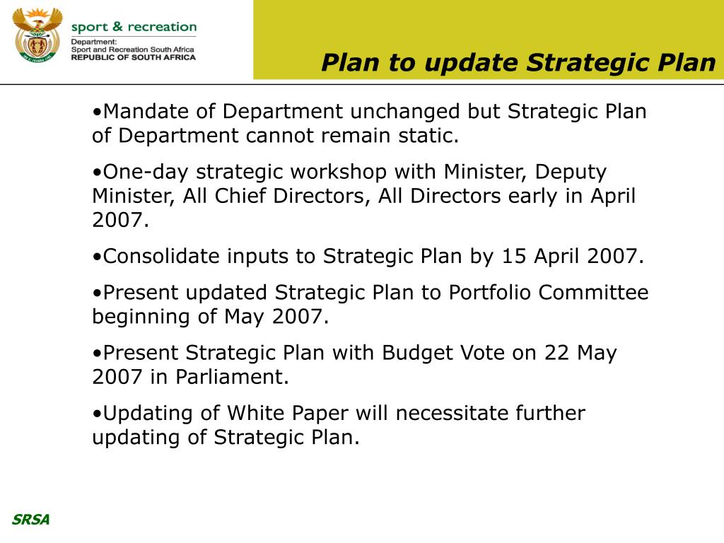 Plan to update Strategic Plan