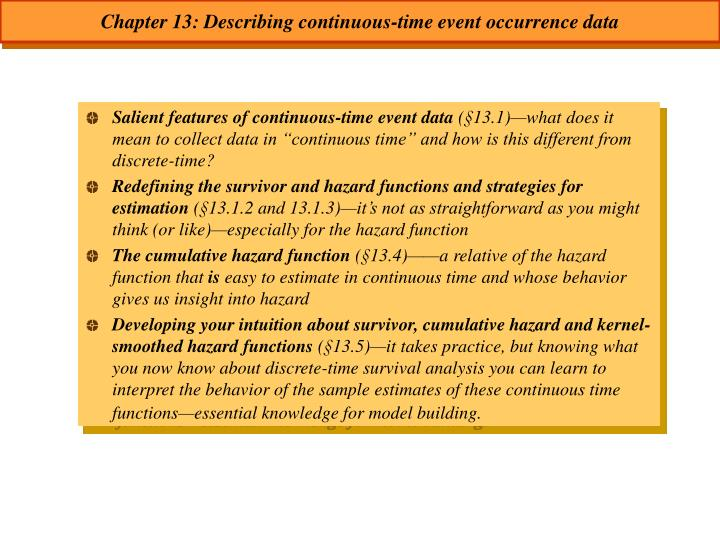 Chapter 13 describing continuous time event occurrence data
