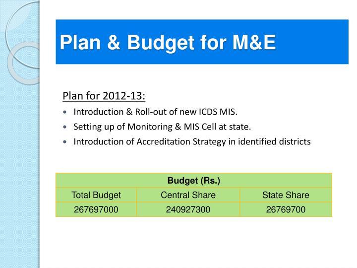 Plan & Budget for M&E