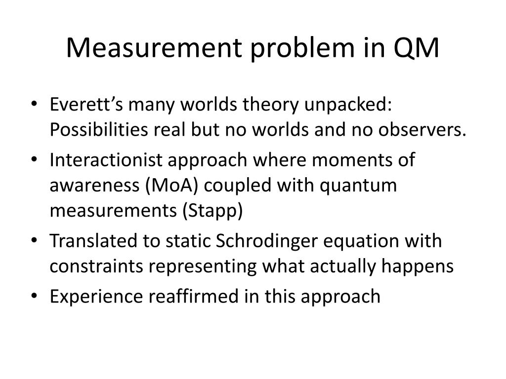 Measurement problem in QM