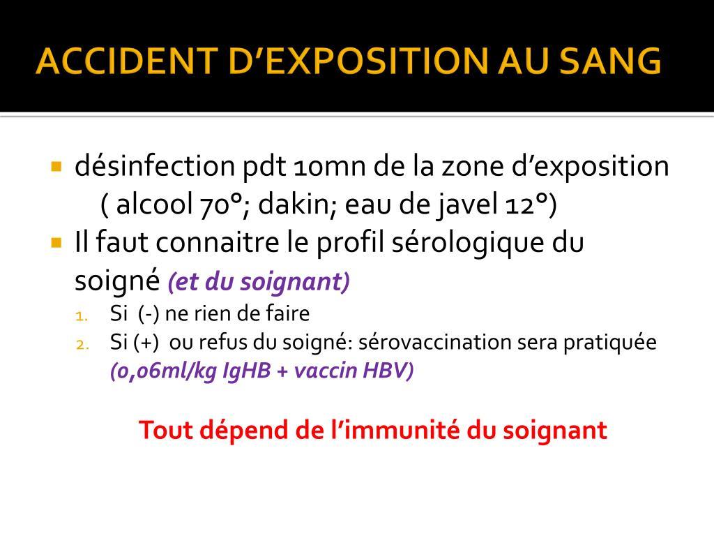 ACCIDENT D'EXPOSITION AU SANG