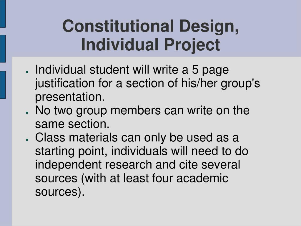 Constitutional Design, Individual Project