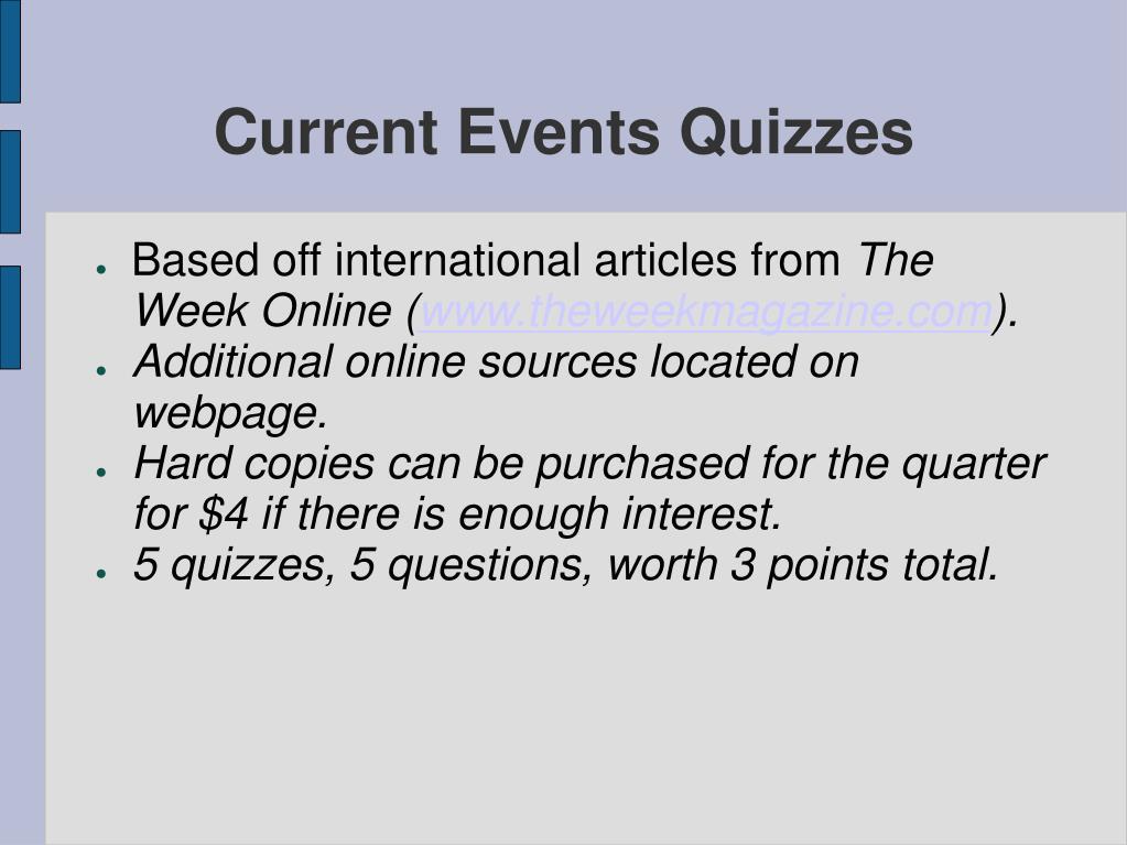Current Events Quizzes