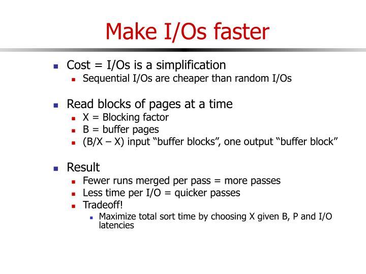 Make I/Os faster