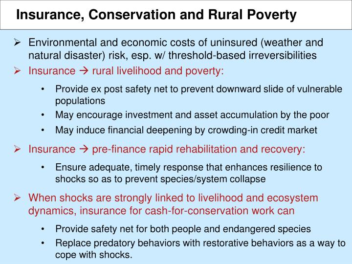 Insurance, Conservation and Rural Poverty