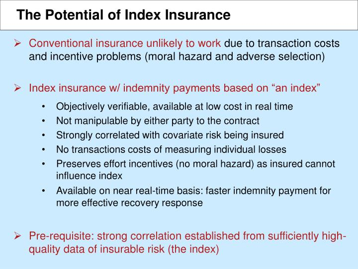 The Potential of Index Insurance