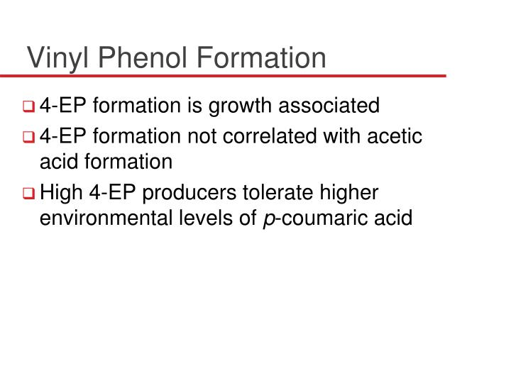 Vinyl Phenol Formation