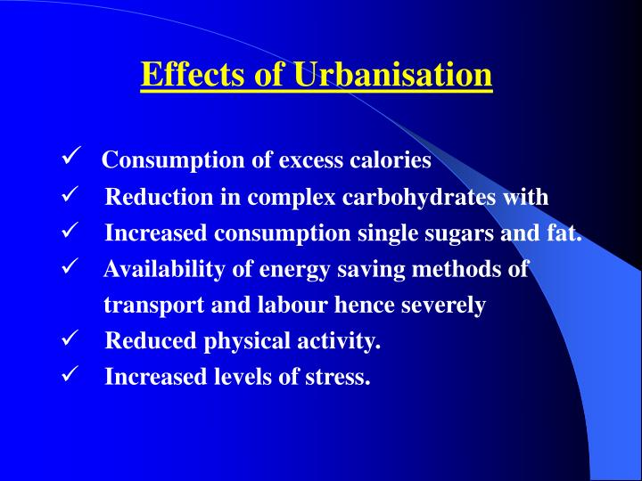 Effects of Urbanisation