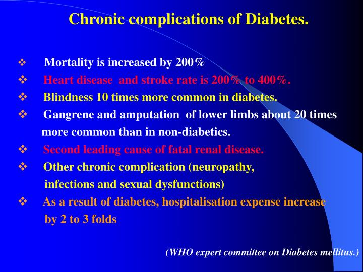 Chronic complications of Diabetes.