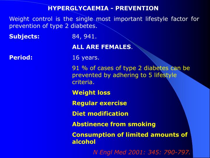 HYPERGLYCAEMIA - PREVENTION