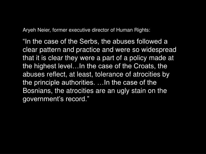Aryeh Neier, former executive director of Human Rights:
