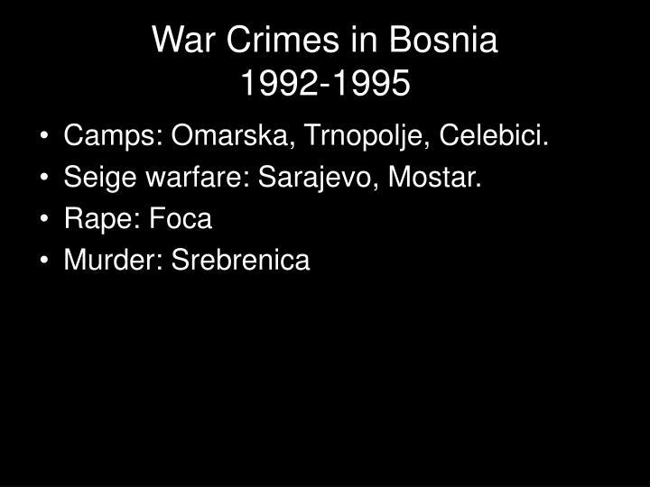 War Crimes in Bosnia