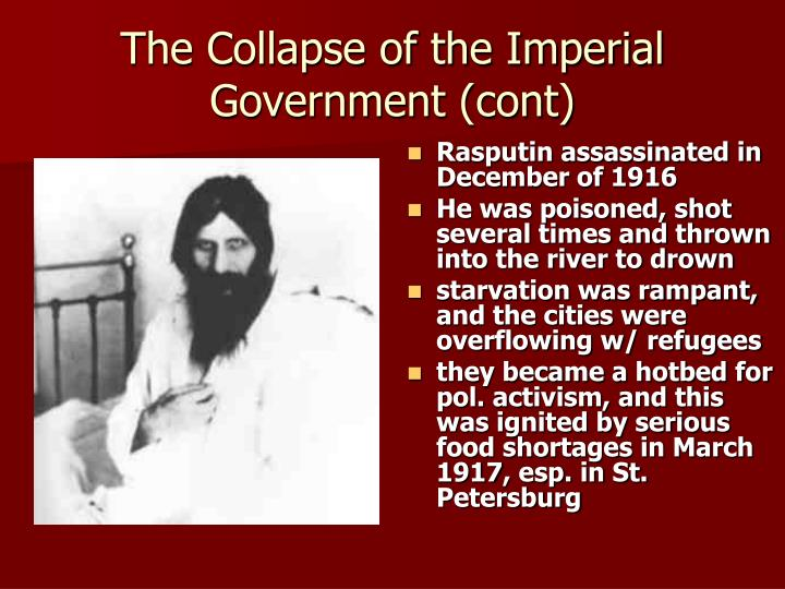 The Collapse of the Imperial Government (cont)