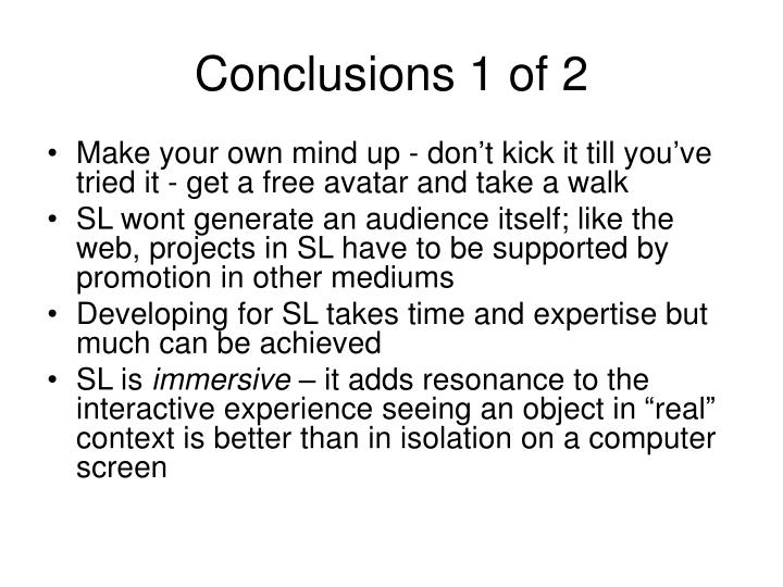 Conclusions 1 of 2