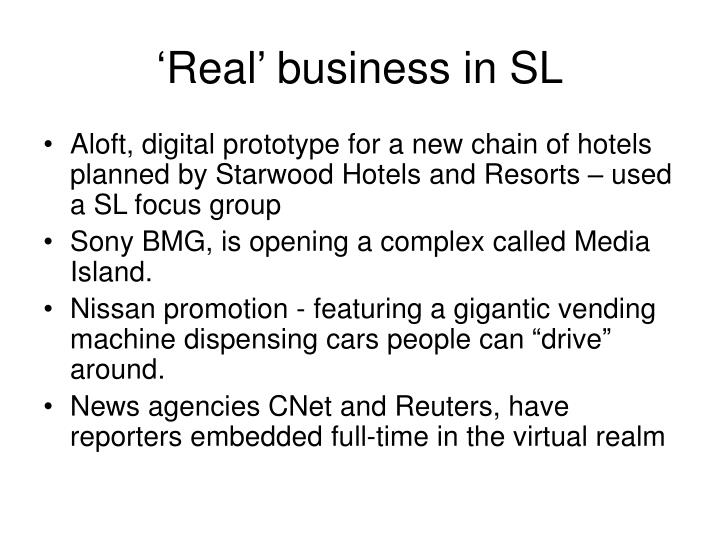 'Real' business in SL