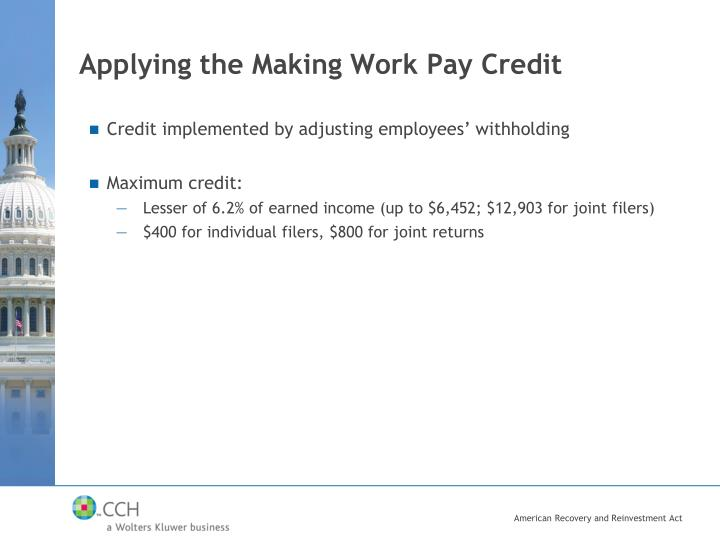 Applying the Making Work Pay Credit