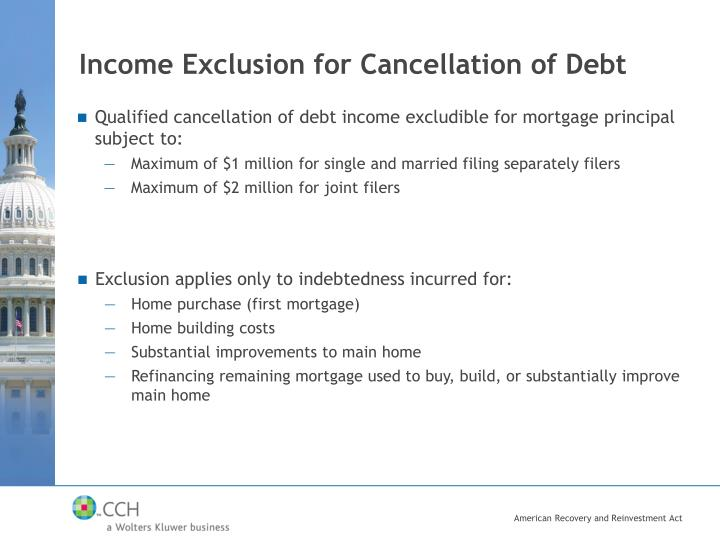 Income Exclusion for Cancellation of Debt