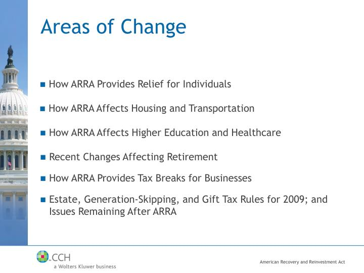 Areas of Change