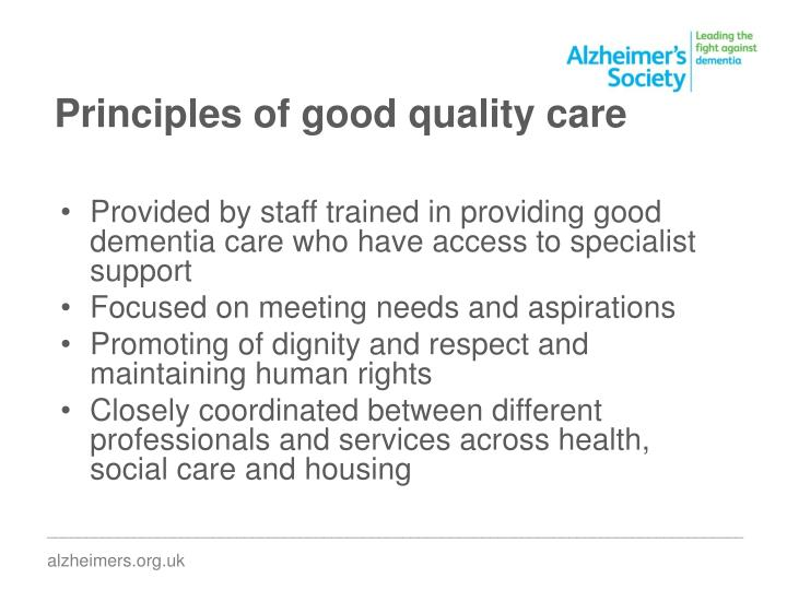 Principles of good quality care