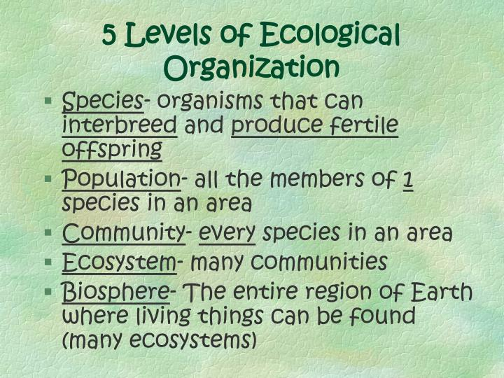 5 levels of ecological organization