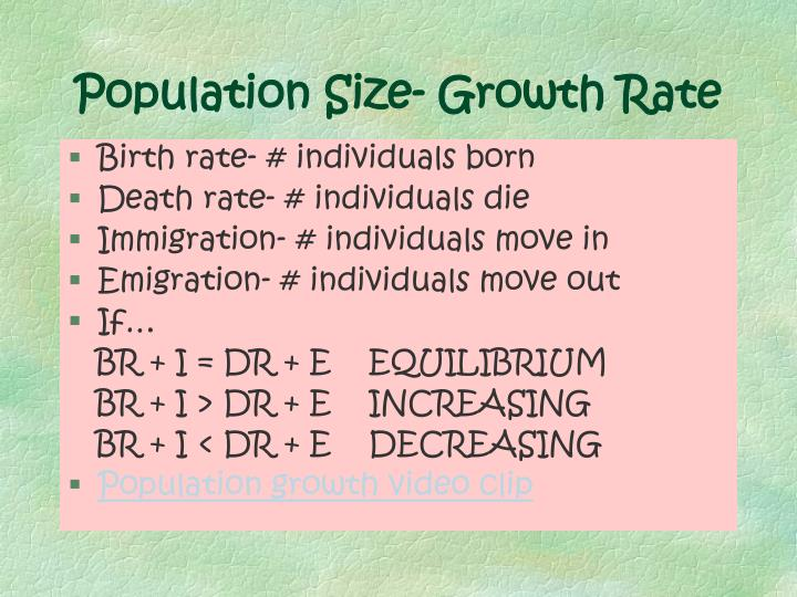 Population Size- Growth Rate