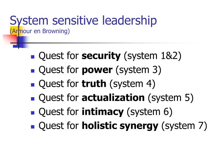System sensitive leadership armour en browning
