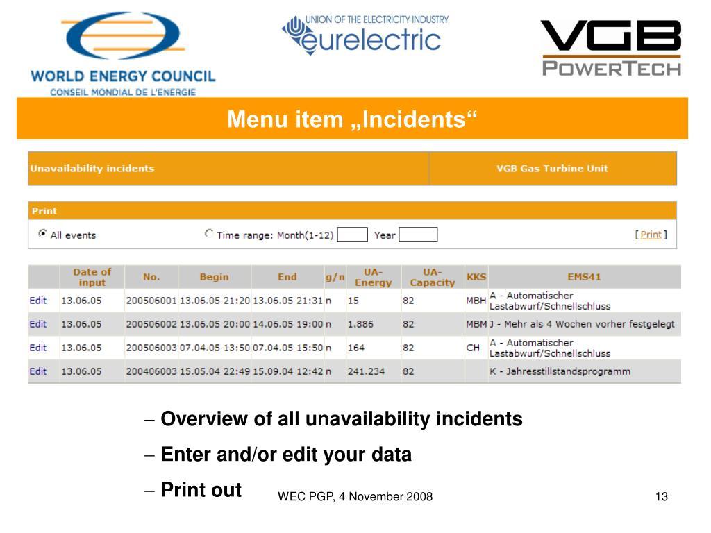 """Menu item """"Incidents"""""""