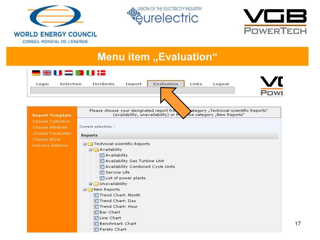 """Menu item """"Evaluation"""""""