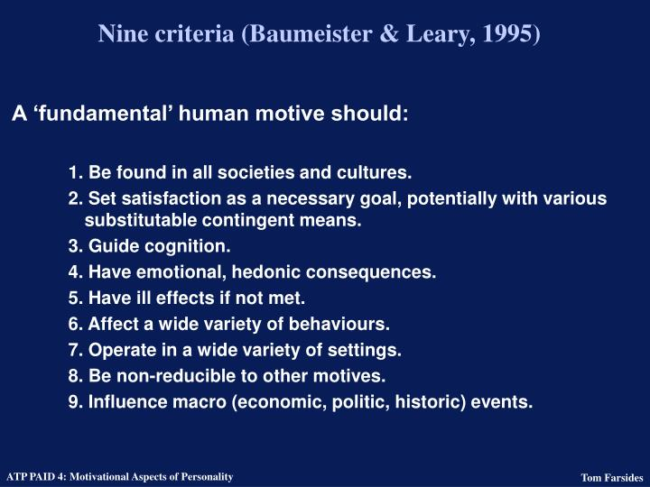 Nine criteria (Baumeister & Leary, 1995)