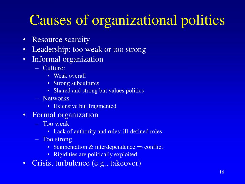 Causes of organizational politics