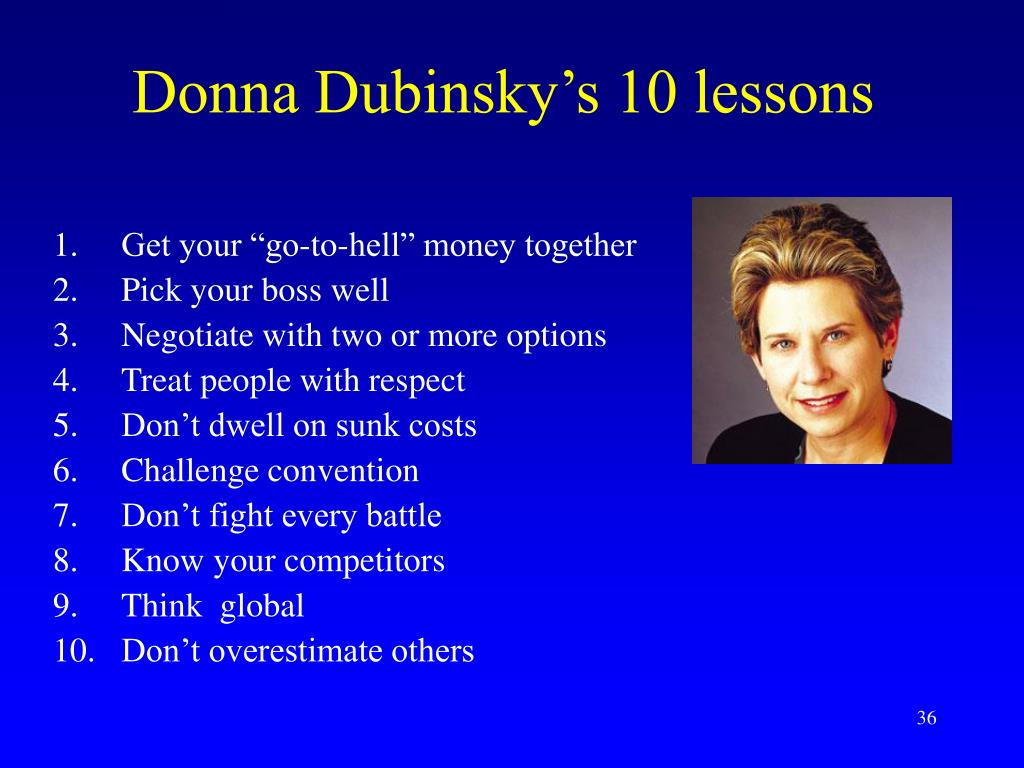 Donna Dubinsky's 10 lessons