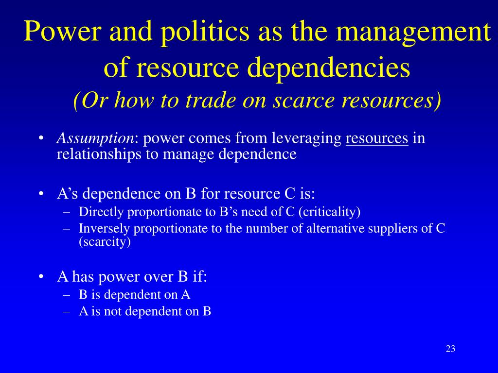 Power and politics as the management of resource dependencies