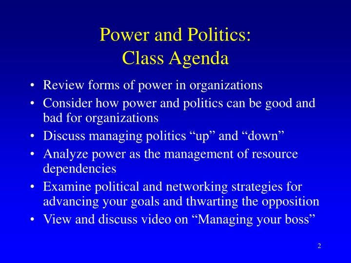 Power and politics class agenda