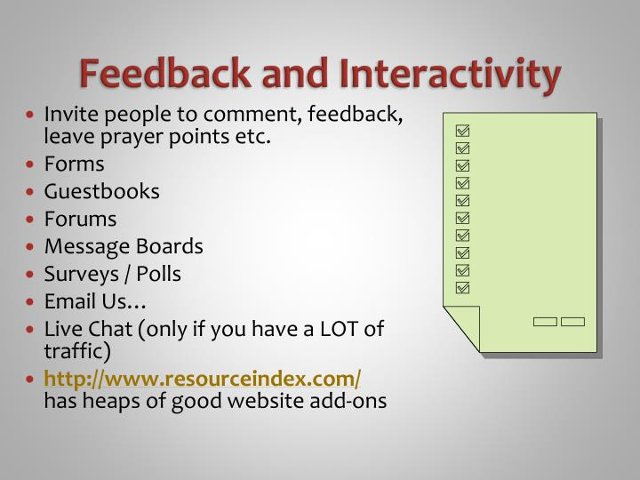 Feedback and Interactivity