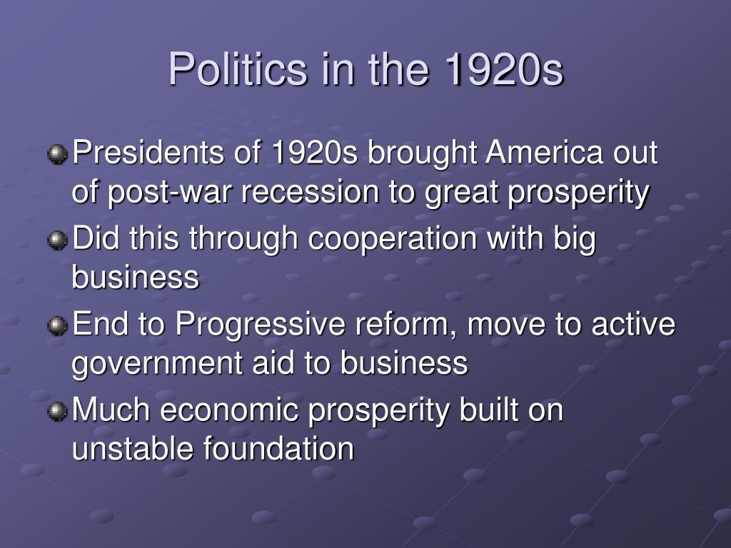 Politics in the 1920s